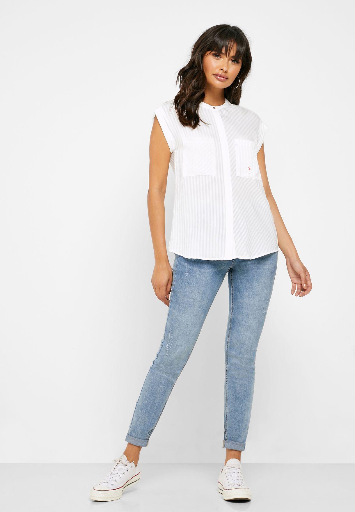Sheer Pocket Detail Shirt