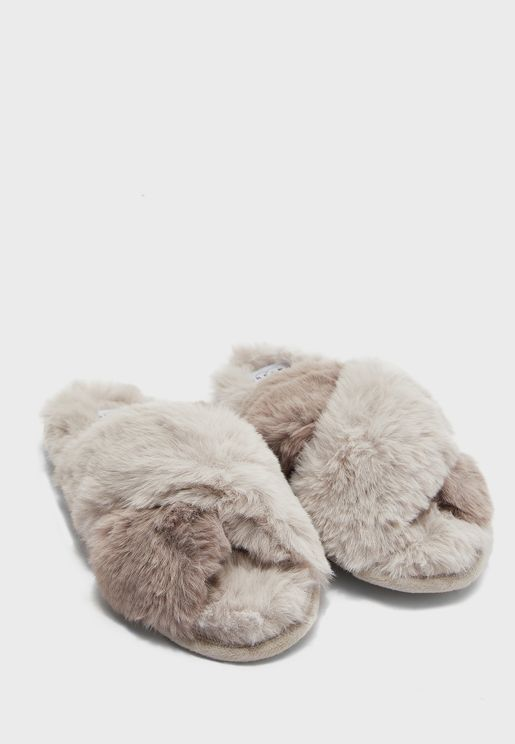 Two Tone Cross Over Fluffy House Slippers