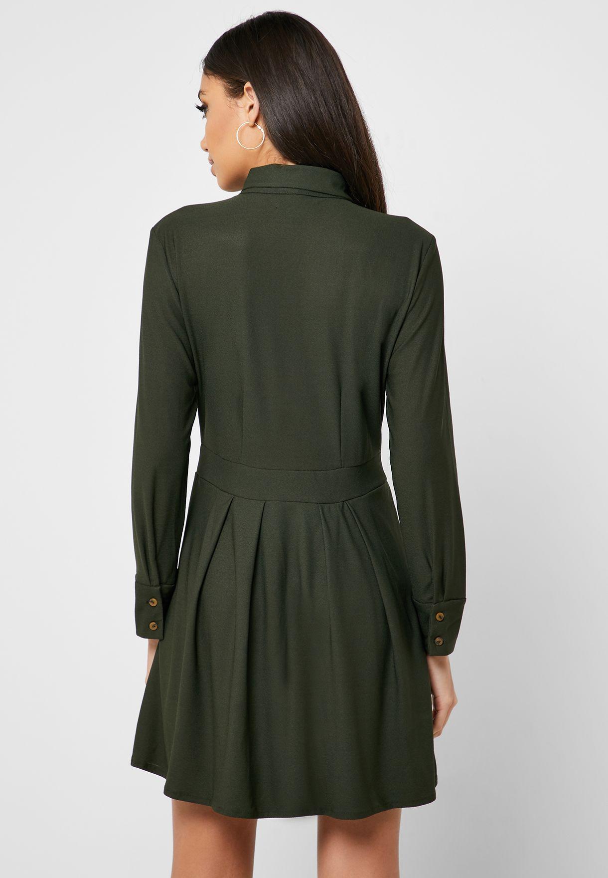 Reserved Pleated Mini Shirt Dress - Fashion