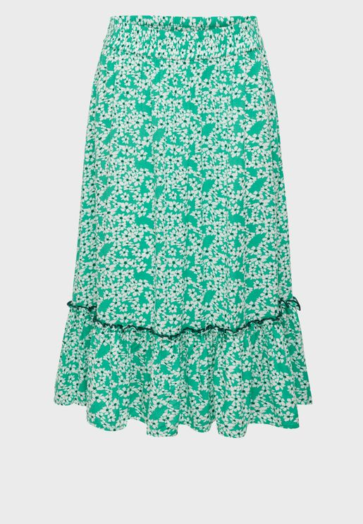 Frill Detail Printed Skirt