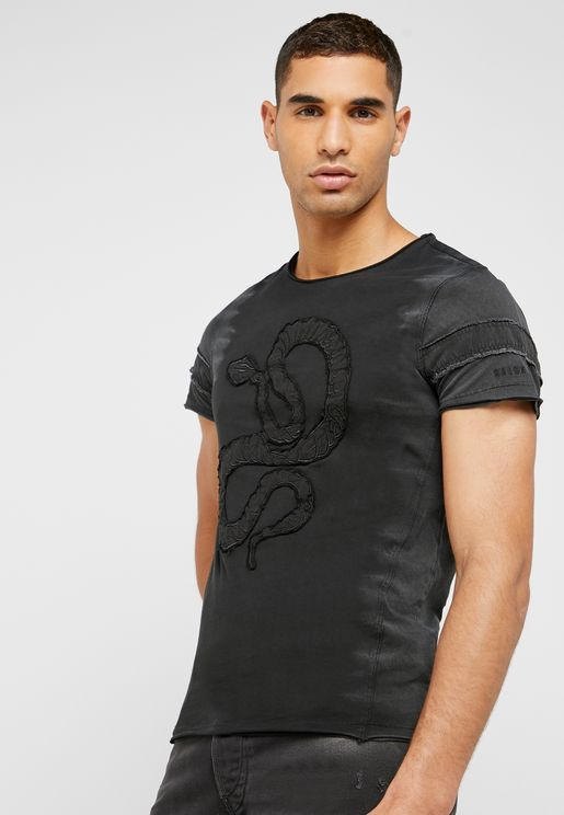 Embroidery Snake Crew Neck T-Shirt