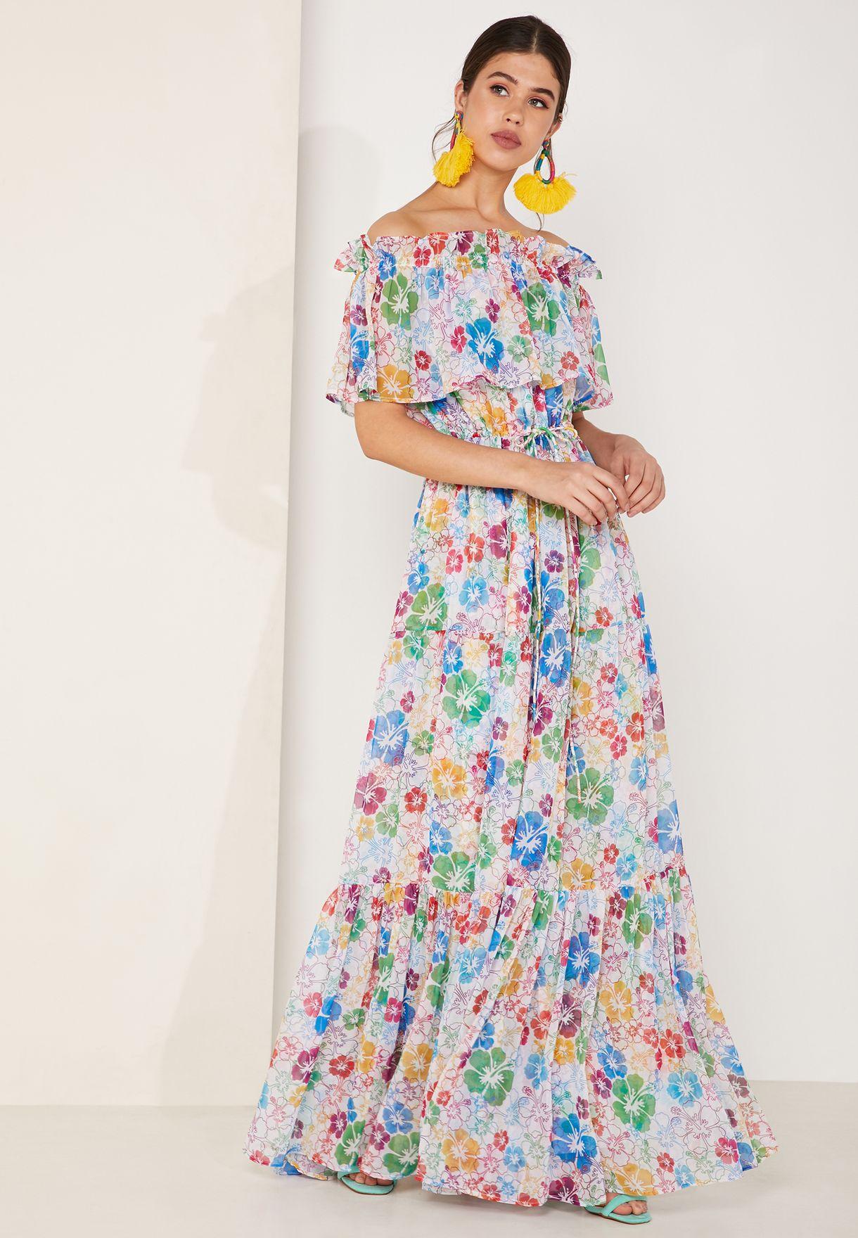 Kona Floral Print Bardot Maxi Dress
