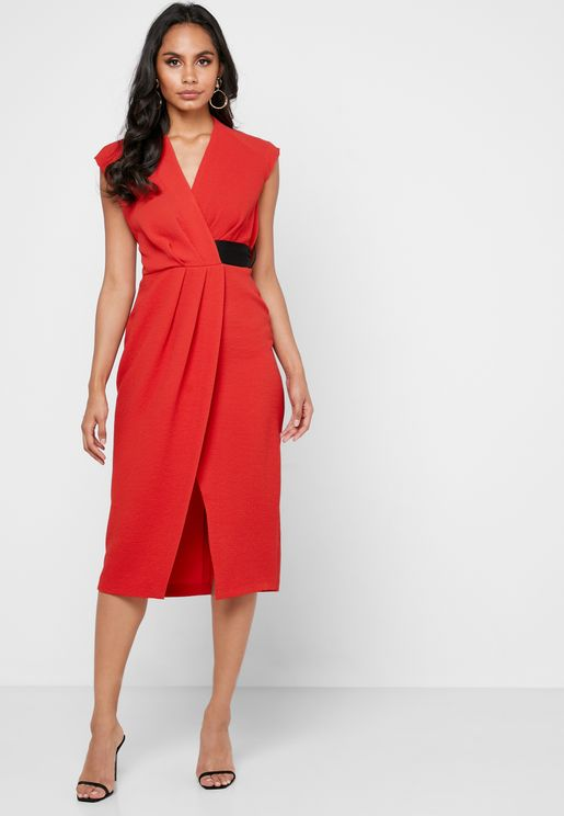 Contrast Detail Pleated Wrap Dress
