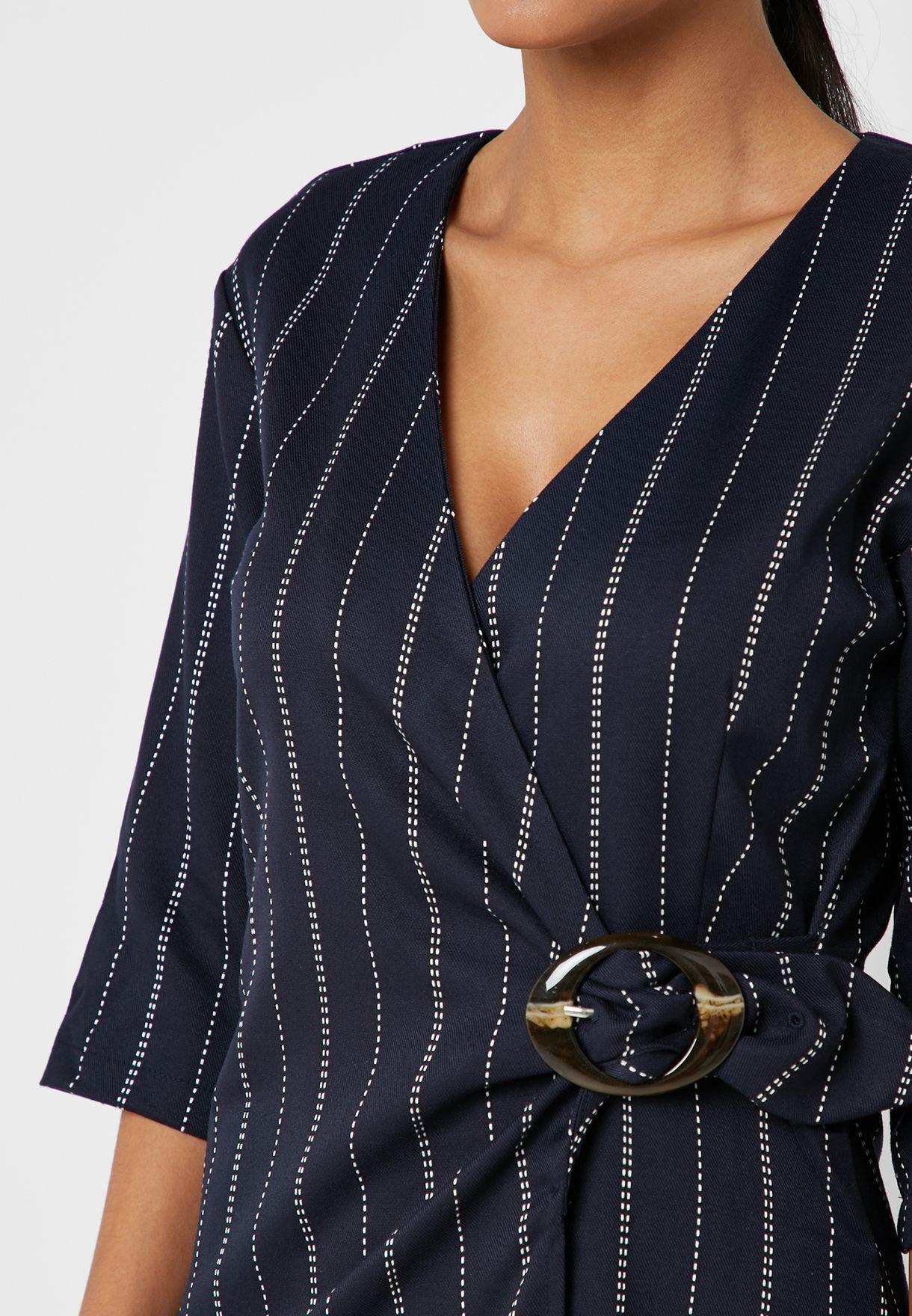 Mango Striped Wrap Dress - Fashion