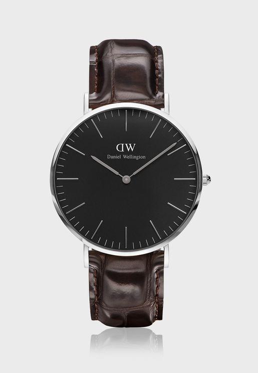 Classic York Silver Black 40mm Watch