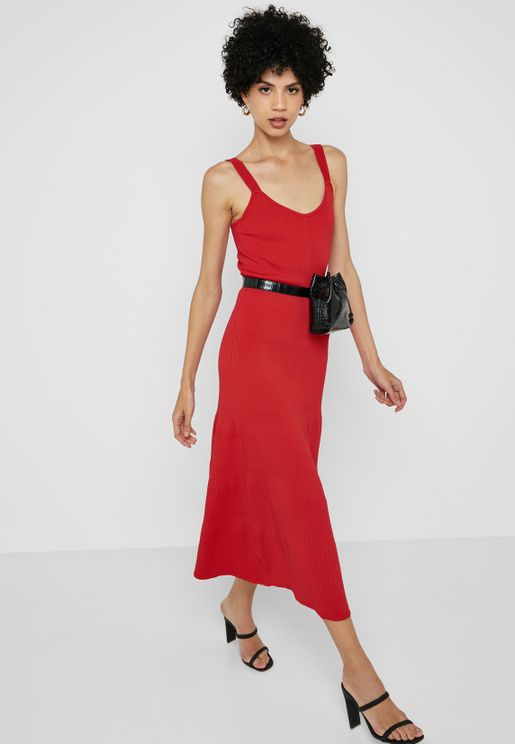 Ruched Detail Sleeveless Dress