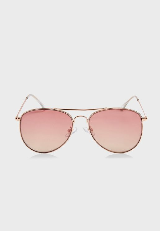 ALLY Pink Pilot Mirror Sunglasses