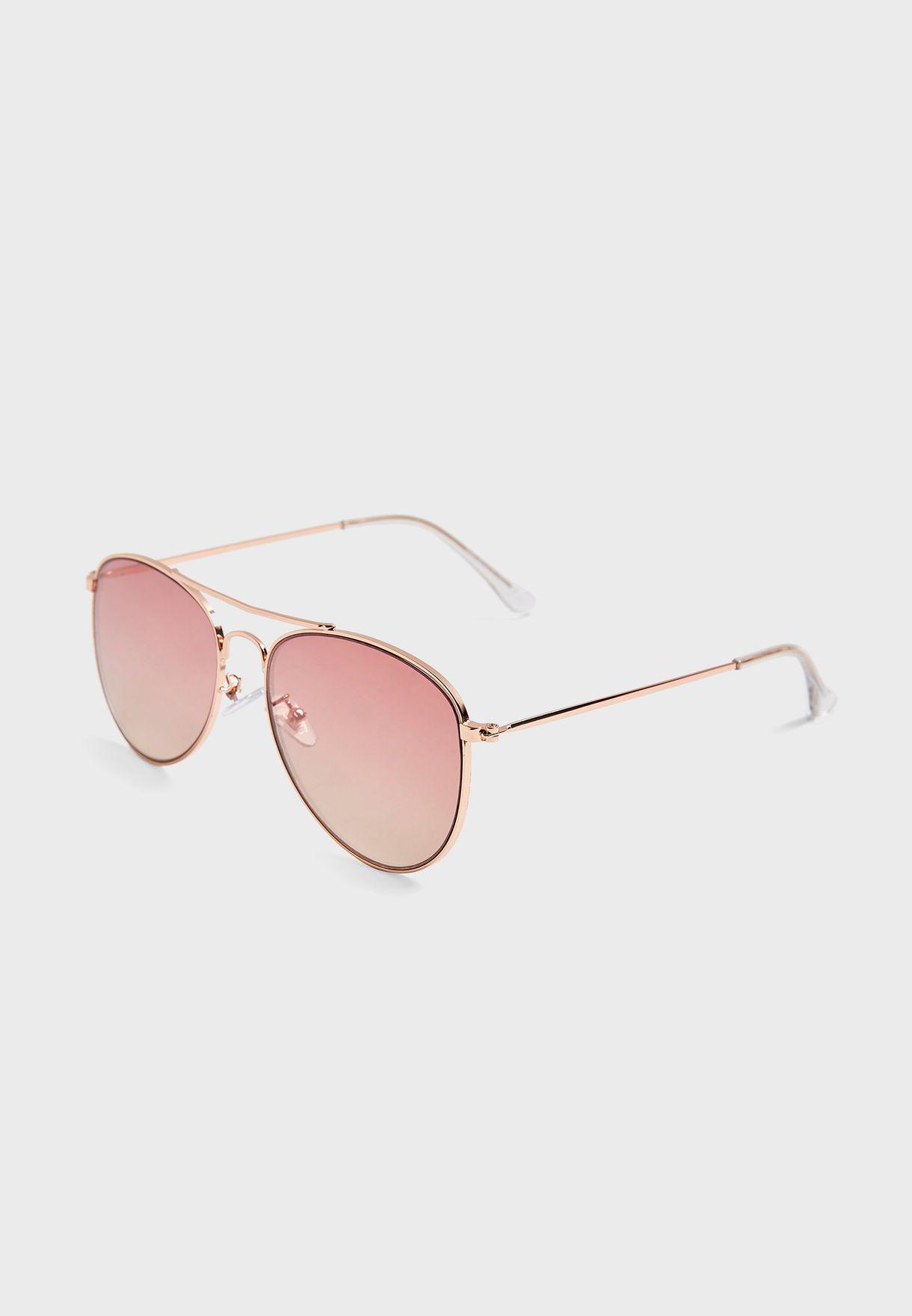 ALLY Pink Pilot Mirror Sunglasses
