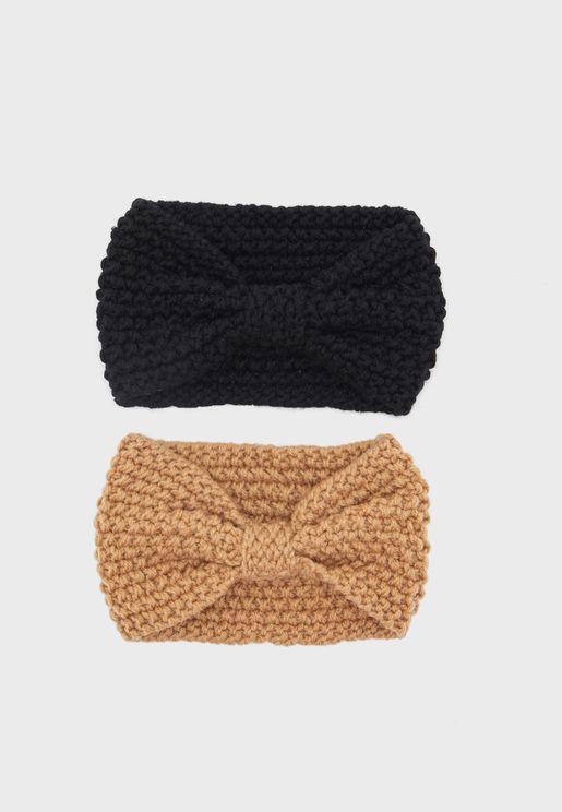 مجموعة من 2 ربطة رأس محبوكة