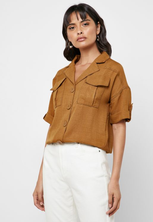 Roll Sleeve Ruched Waist Shirt