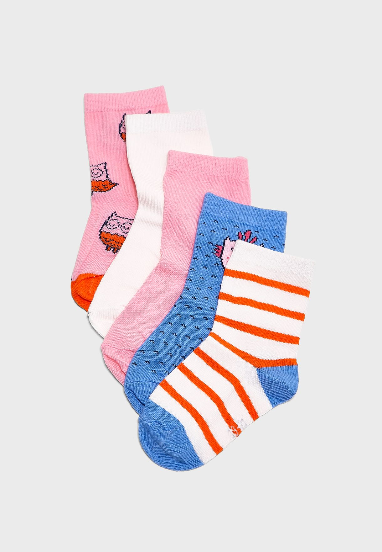 5da0a649 Kids 5 Pack Printed Socks