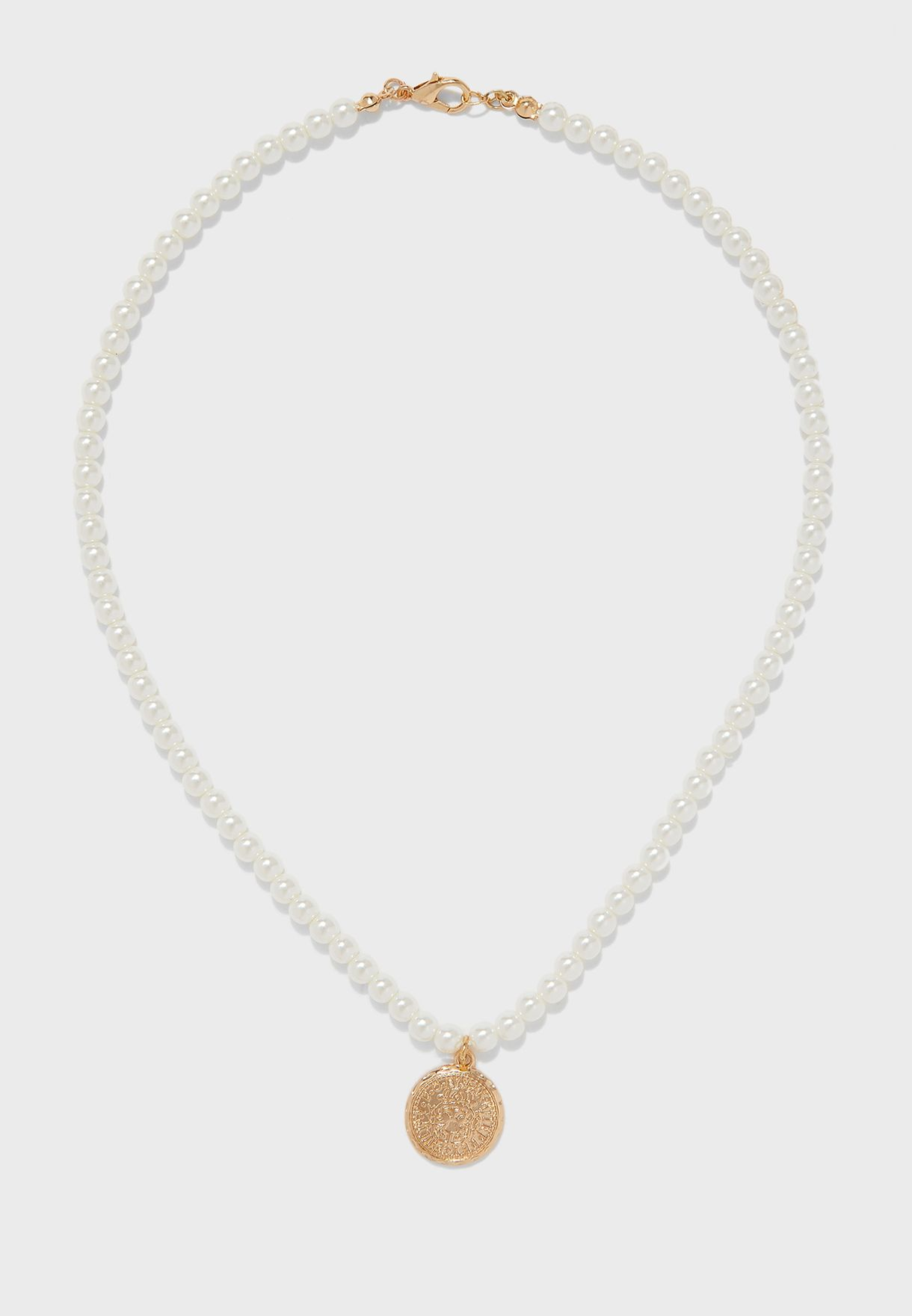 Triple Layered Pearl And Coloured Stones Necklace