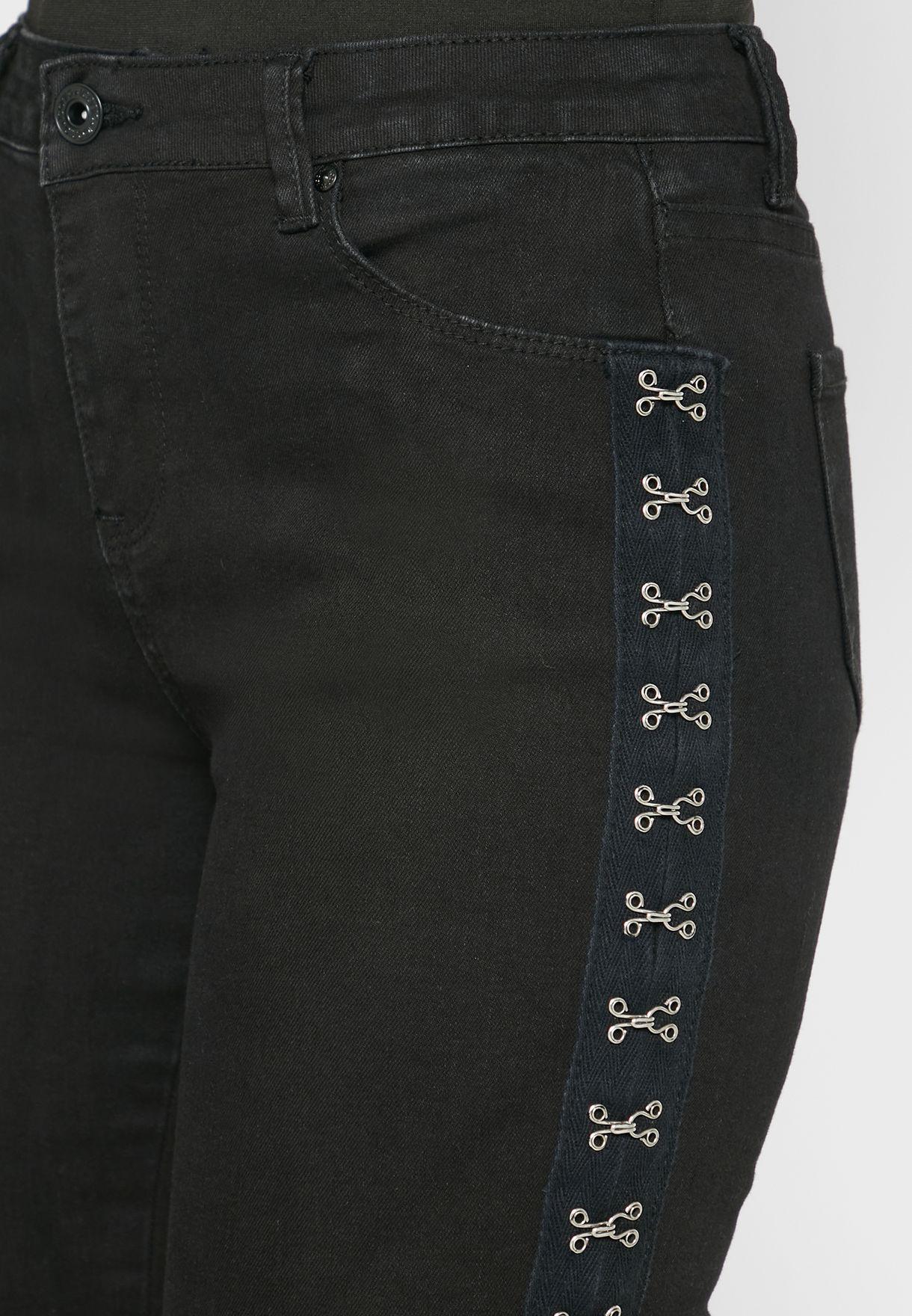 Contrast Trim High Waist Pants