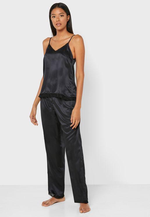 Lace Trim Cami Top & Pyjama Set