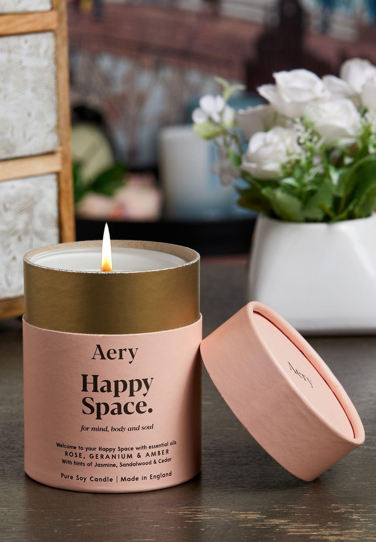 Happy Space Candle - Rose Geranium Amber 200g