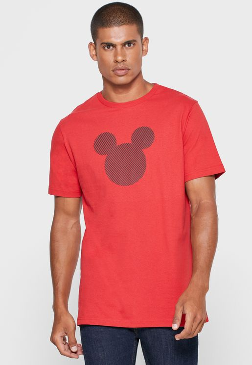 Mickey Mouse Face Crew Neck T-Shirt