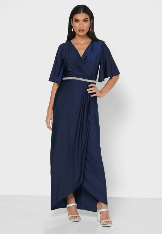 Angel Sleeve Belted Wrap Dress