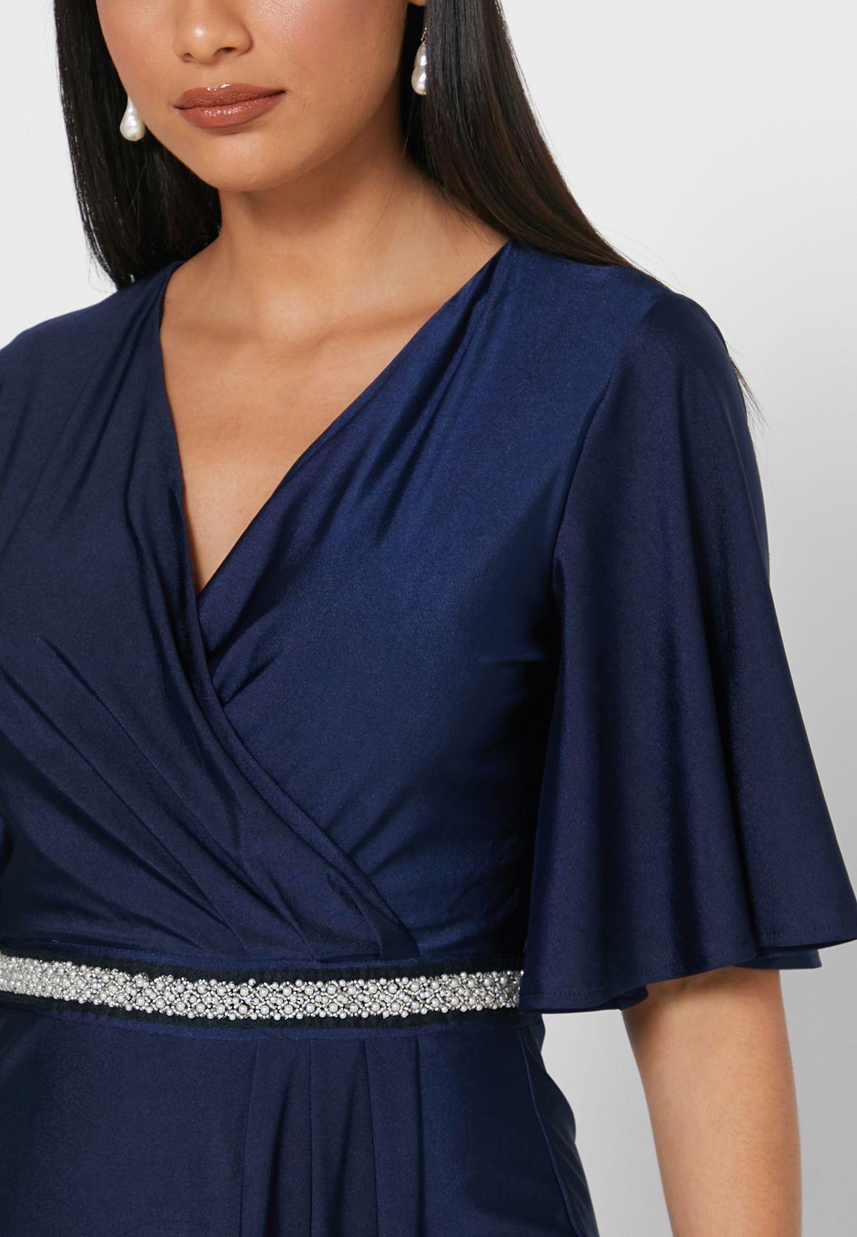 Angel Sleeve Belted Wrap Dress