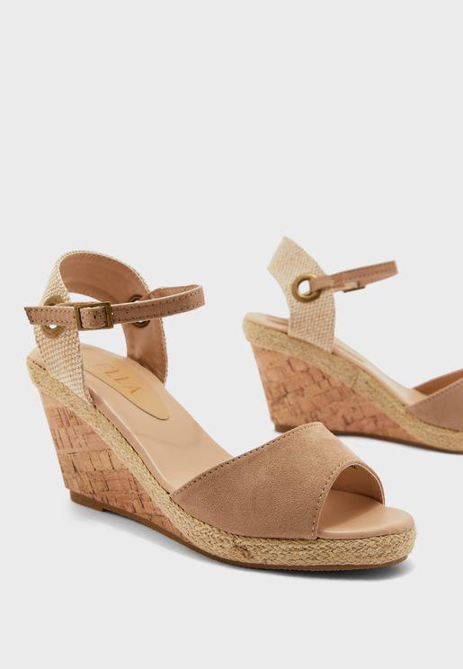 Eyelet Detail Ankle Strap Wedge Sandal