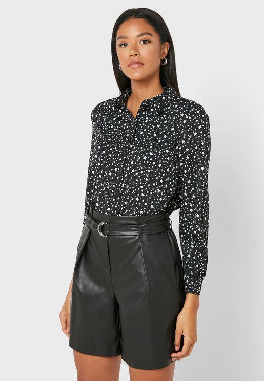 Printed Balloon Sleeve Shirt