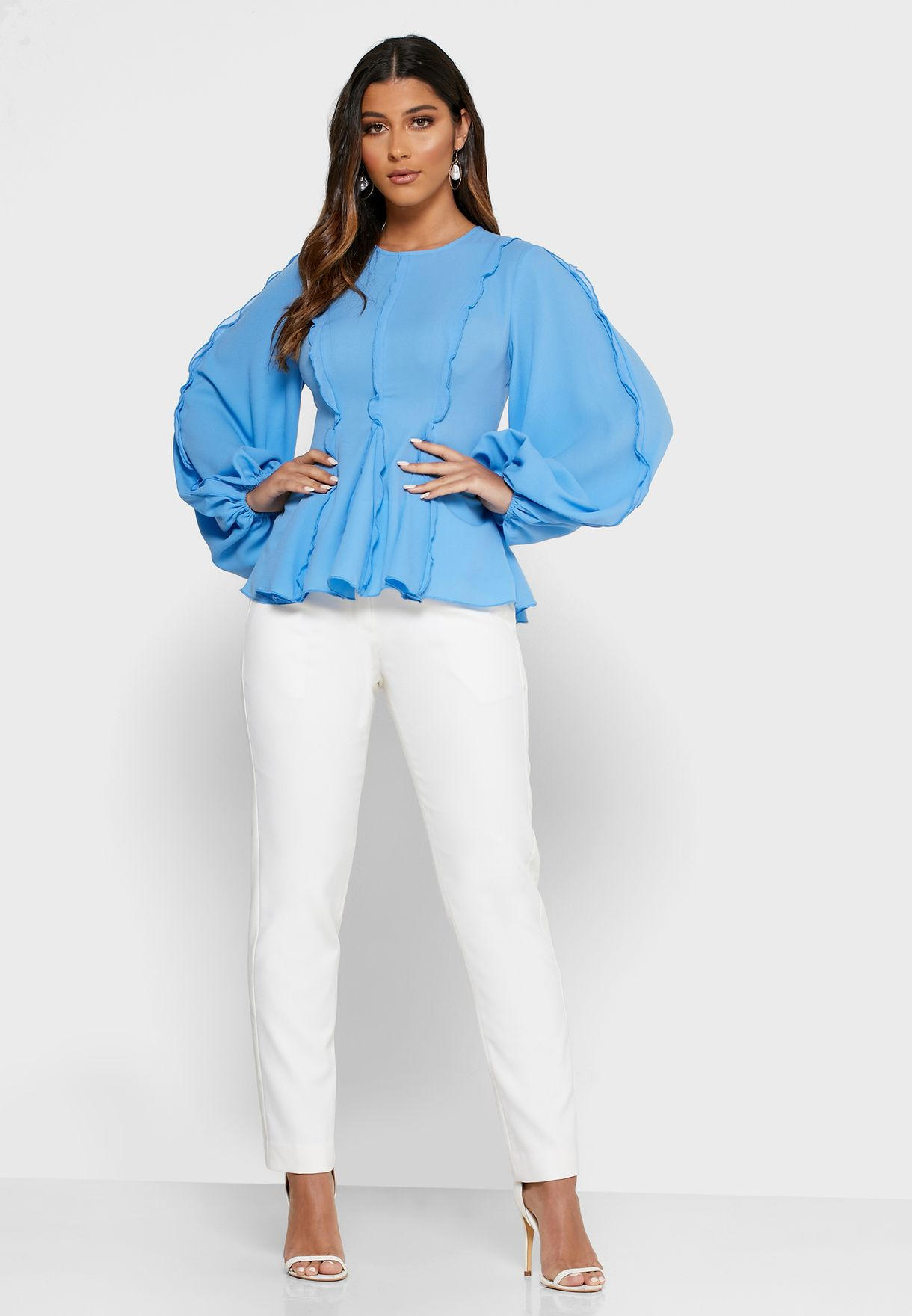 Beloved Puff Sleeve Peplum Top