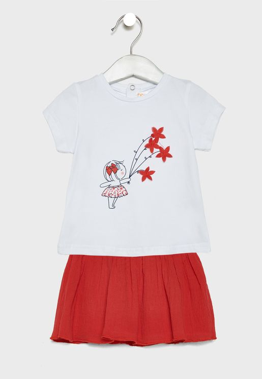 Infant Graphic Top + Skirt Set