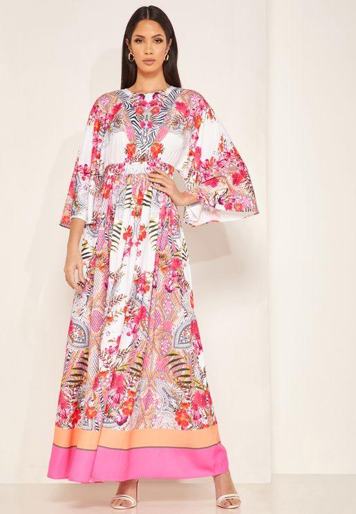 فستان بنمط قفطان مطبع
