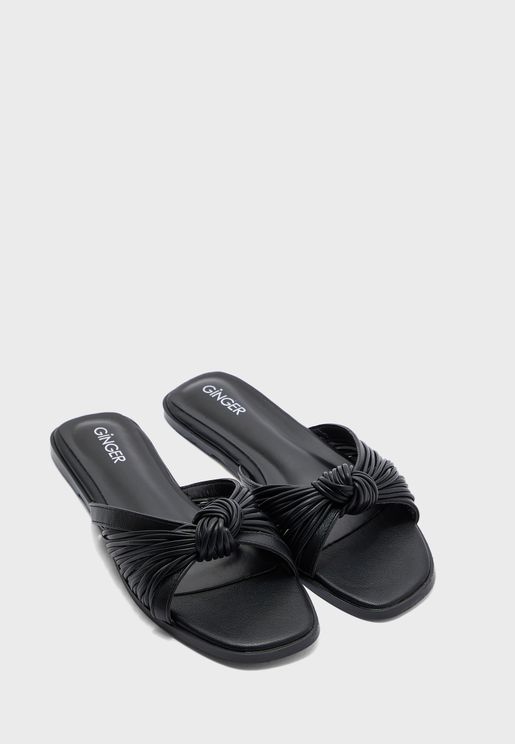 Ruched Knot Front Flat Sandal