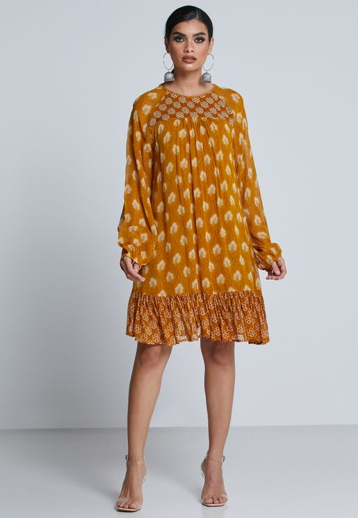 Ruffle Hem Printed Dress