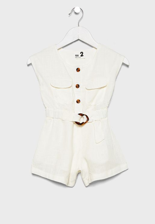 Kids Button Detail Playsuit