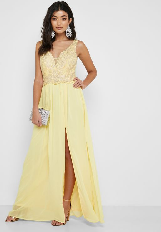 Front Slit Embellished Maxi Dress
