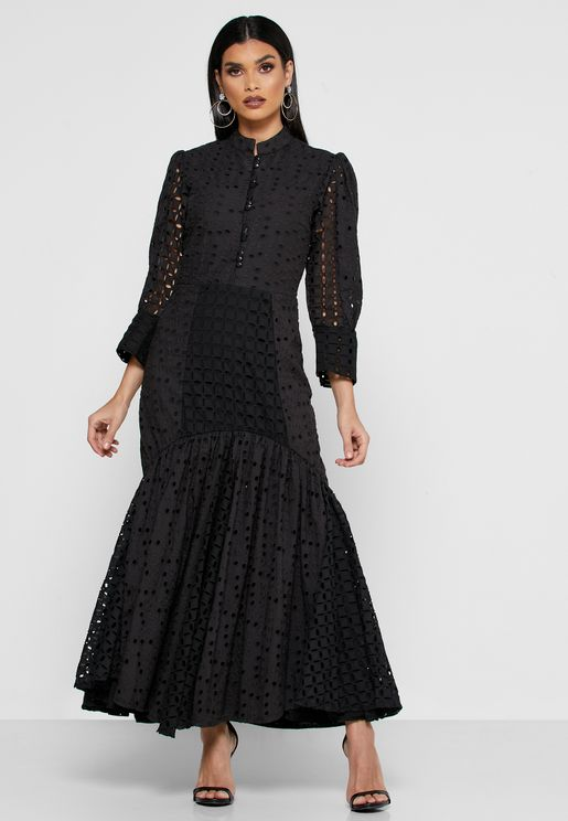 Button Down Pephem Schiffli Dress