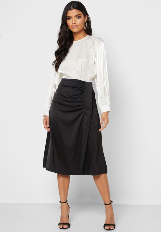 Ruched Side Midi Skirt