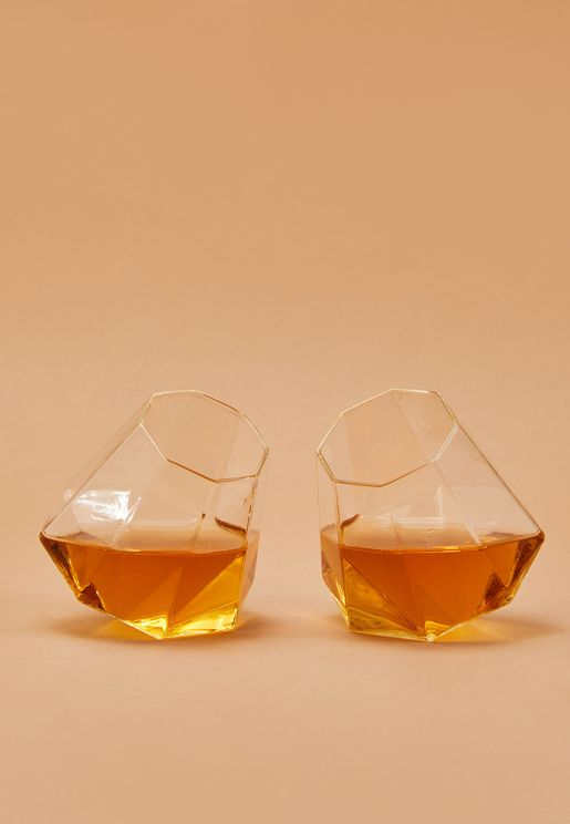 2 Pack Diamond Glass