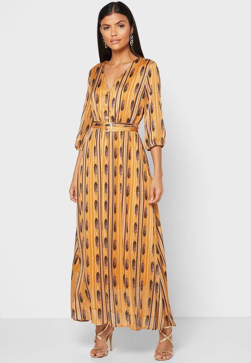 Printed Button Down Belted Mai Dress