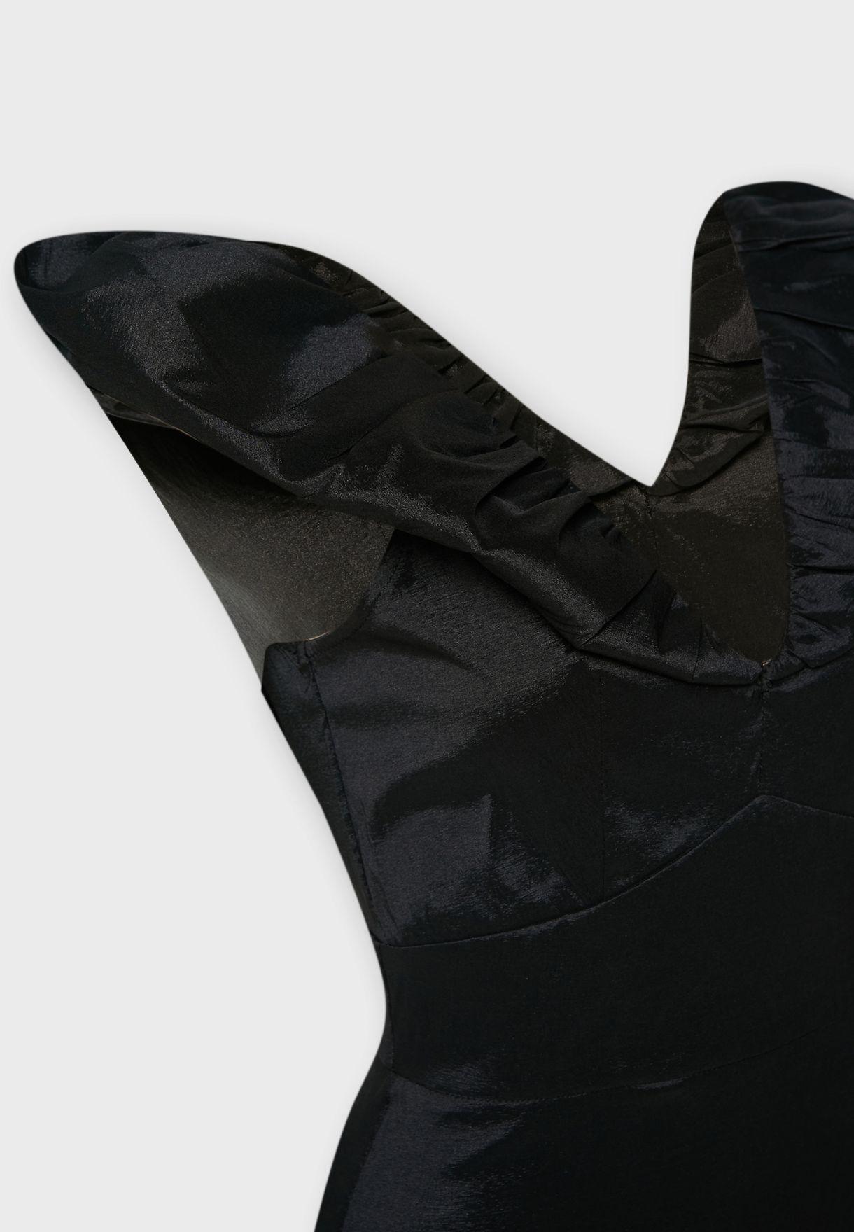 فستان ستان ميدي باكمام منفوشة وياقة عميقة