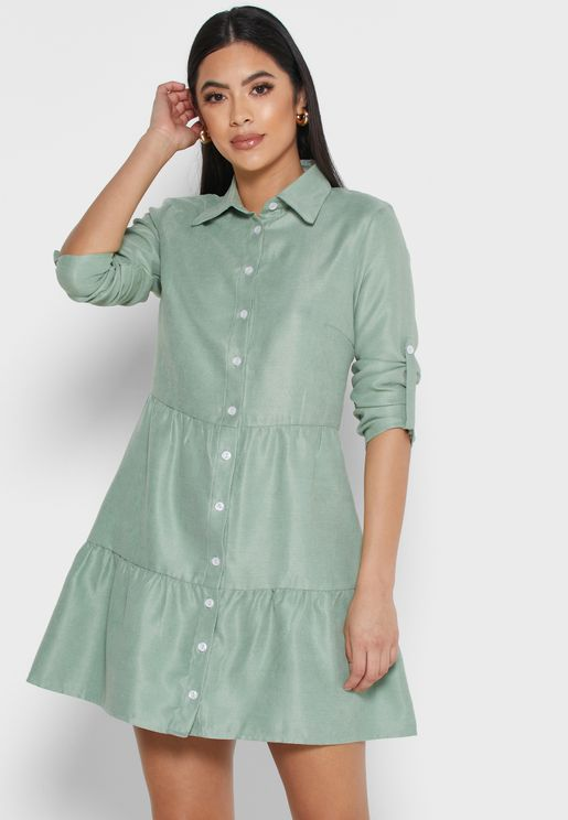 Ruffle Hem Shirt Mini Dress