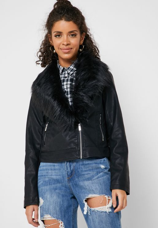 Faux Fur Collar PU Jacket