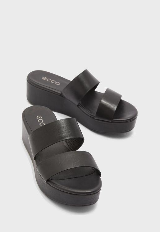 Double Strap Mid Heel Wedge Sandal