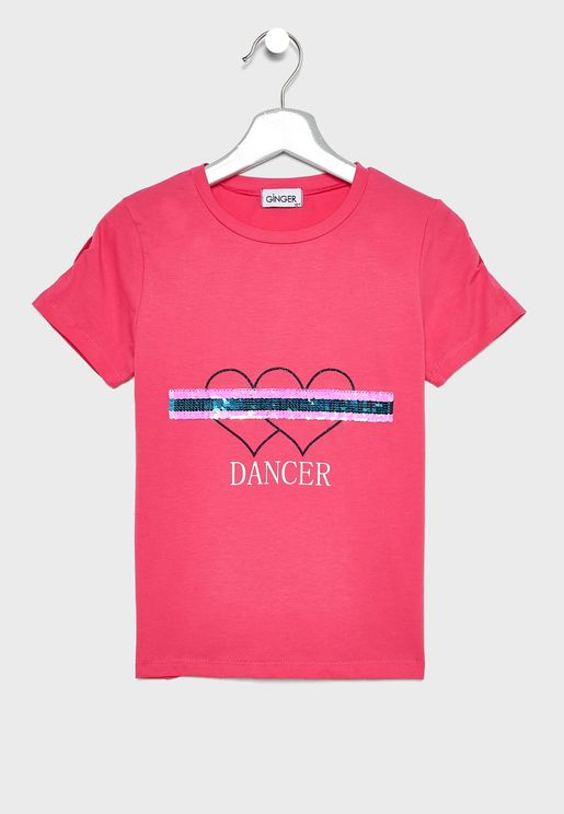 Embellished Slogan Printed T-Shirt