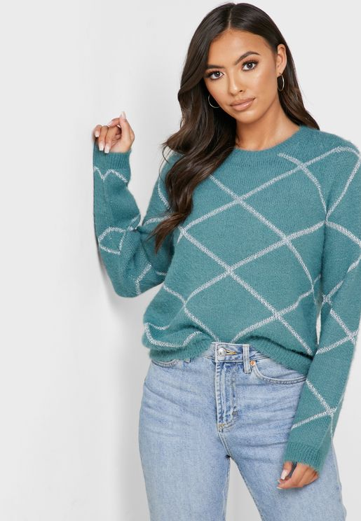 Printed Round Neck Sweater