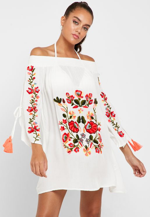 Embroidered Bardot Beach Cover Up