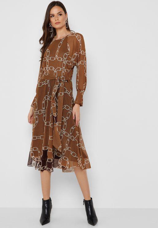 Tie Waist Chain Print Dress