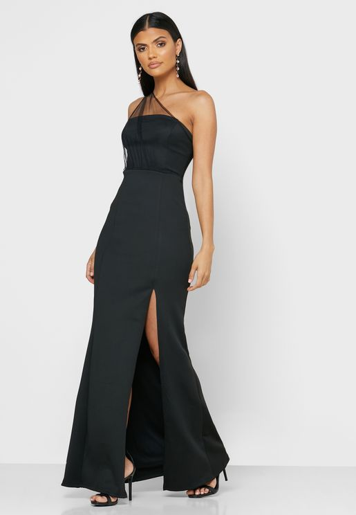 One Shoulder Mesh Maxi Dress
