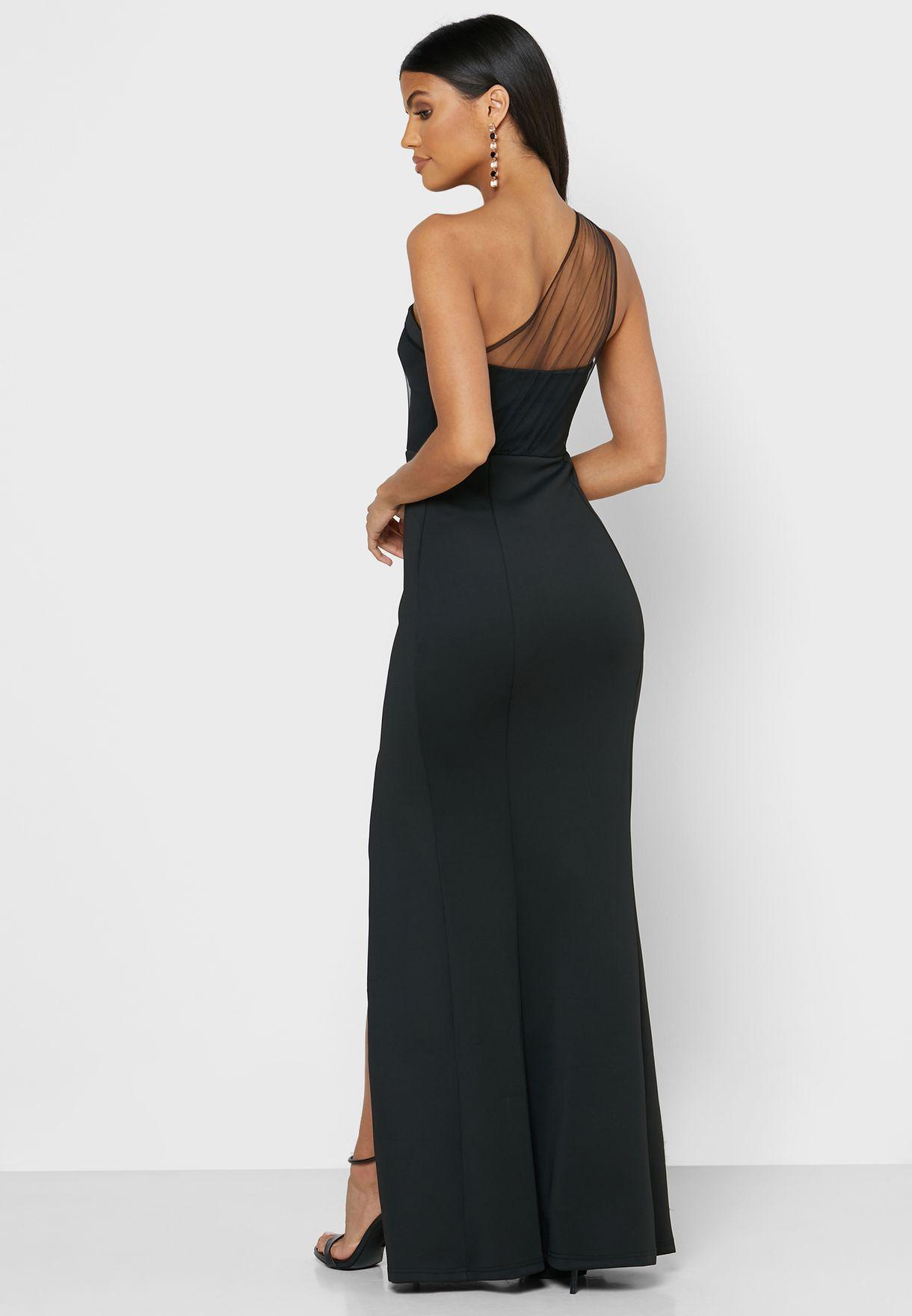 فستان ماكسي بكتف واحد