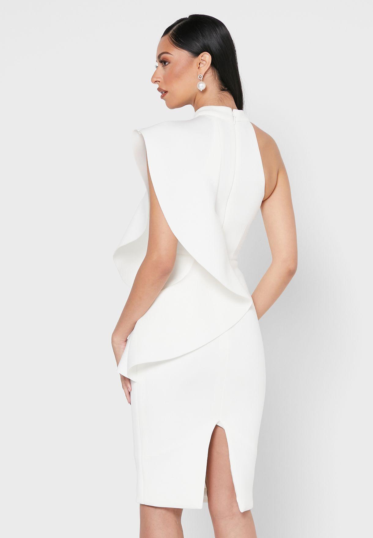 فستان مكشكش بياقة عالية