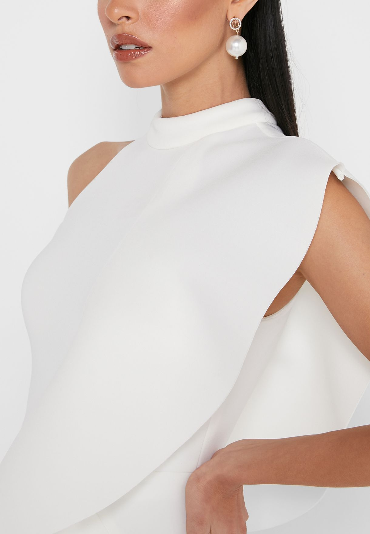 High Neck Ruffle Detail Dress