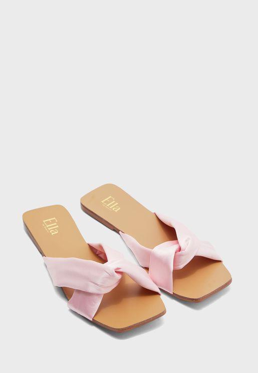 Satin Twisted Square Toe Flat Sandal
