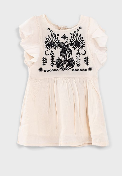 Kids Palm Tree Embroidery Dress