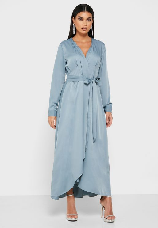 Wrap Front Detail Midi Dress